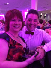 Denise Owen massage Therapy - Me and Stuart Baldwin of Capelli Salons Bridgend, Winner of Best marketing Campaign 2014